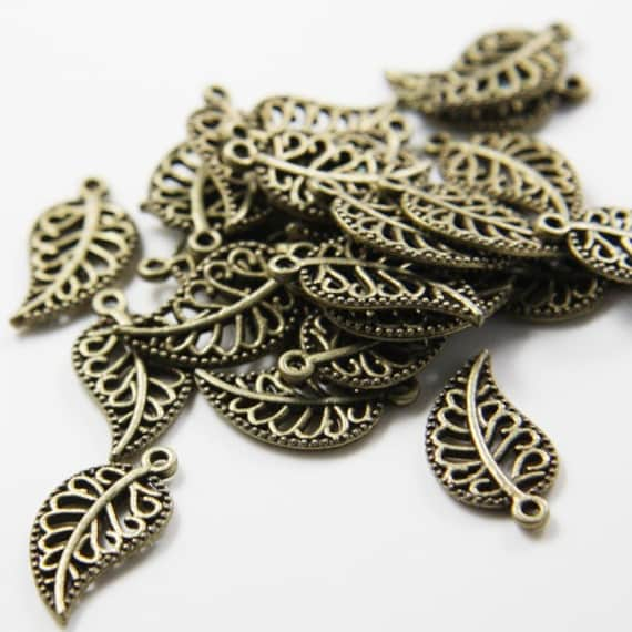 30pcs Antique Brass Tone Base Metal Charms-Leaf 19x10mm (8839Y-D-100B)