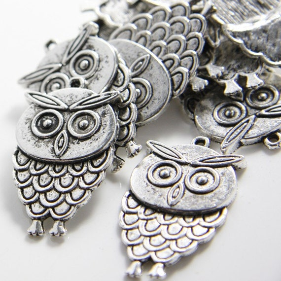 10pcs Oxidized Silver Tone Base Metal Charms-Owl 36x21mm (12747Y-F-9A)