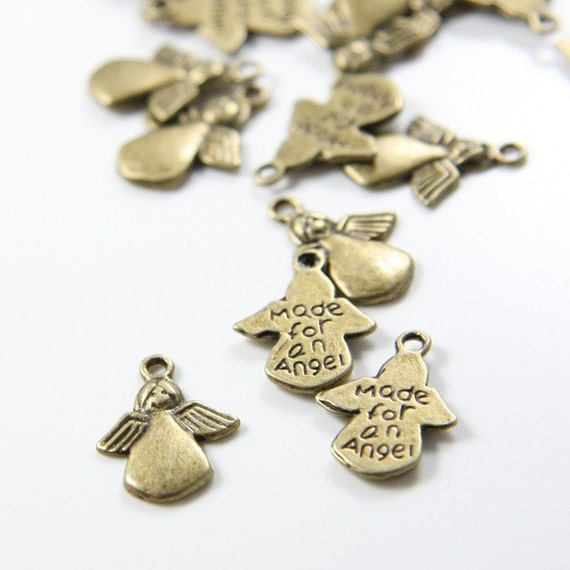 20pcs Antique Brass Tone Base Metal Charms-Angel 17x3mm (579Y-C-78)