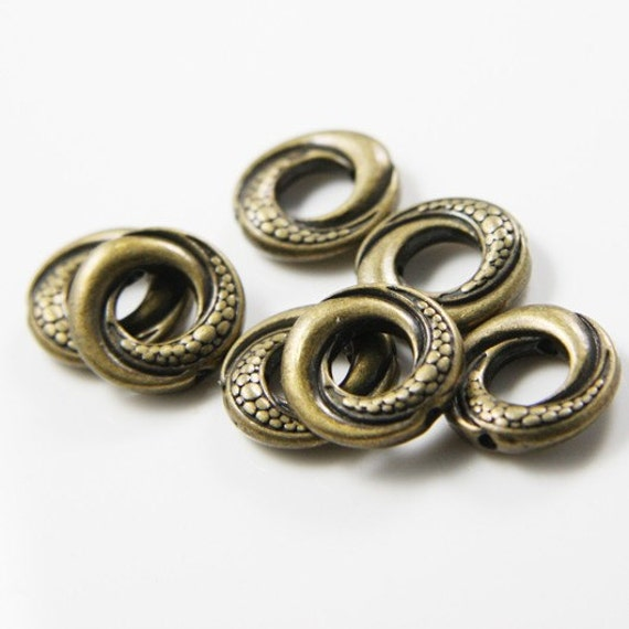 12pcs Antique Brass Tone Base Metal Spacers-Ring 15x4mm (9946Y-F-155)