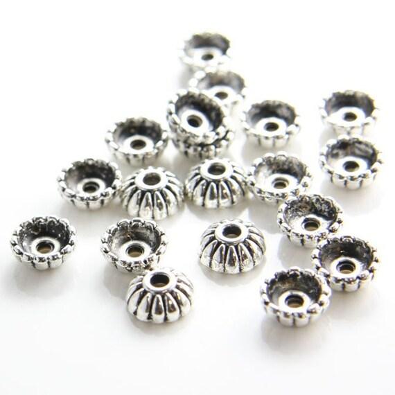30pcs Oxidized Silver Tone Base Metal Caps-10x4mm (1657Y-K-85A)