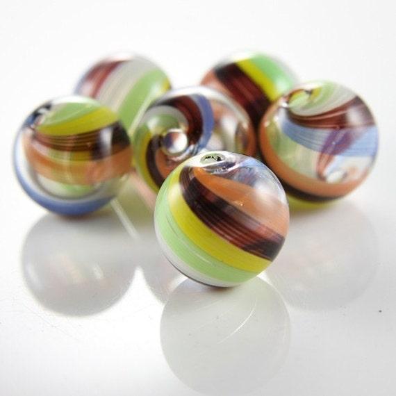 4pcs Hand Blown Hollow Glass Beads-Round Rainbow 25mm