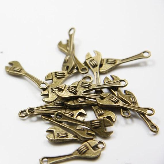 20pcs Antique Brass Tone Base Metal Charms-Wrench 43x7mm (11036Y-E-202B)