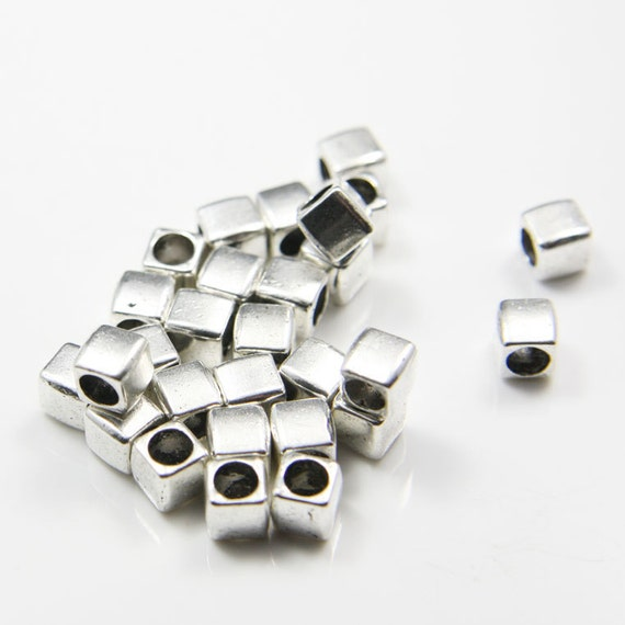 30pcs Oxidized Silver Tone Base Metal Spacers - Square 6.5mm with 4mm hole(11237Y-B-146A)