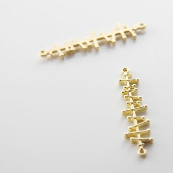 6pcs Matte Gold Tone Fancy Links-42x10mm (64C-R-71)