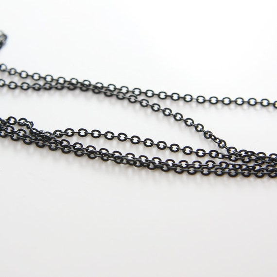 6 Feet Matte Black Plated Chains-Flat Oval 2.7x2.0mm (412C07)(245SFB)