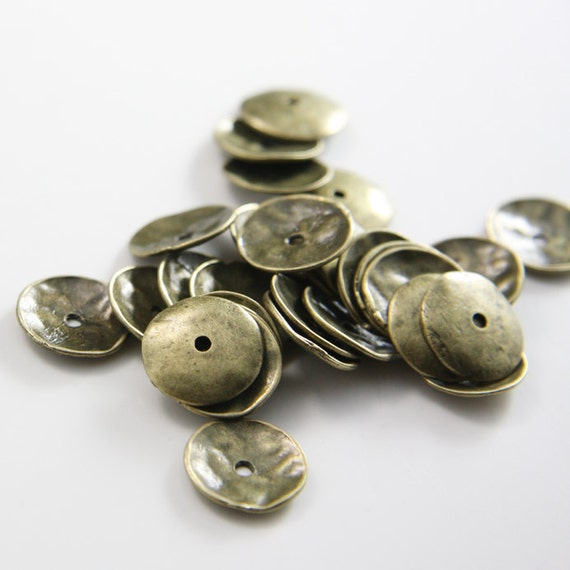 30pcs Antique Brass Tone Base Metal Caps-13mm (25530Y-K-212)