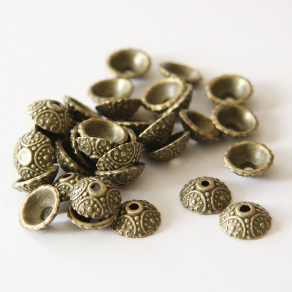 60pcs Antique Brass Tone Base Metal Caps-10x3mm (531Y-K-28B)