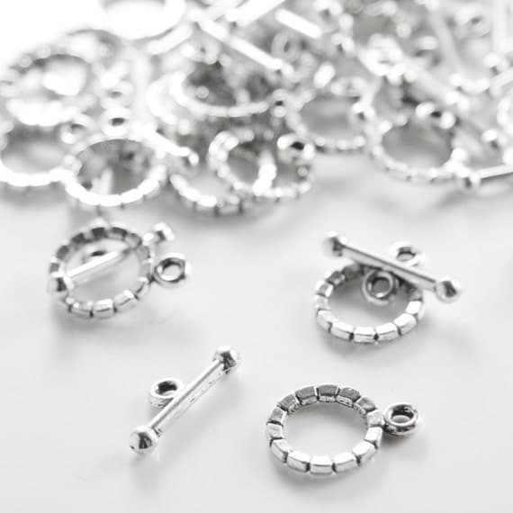 30 Sets Oxidized Silver Tone Base Metal Toggle Clasps (1578Y-K-225)