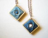 Geometric ELECTRA pendant necklace - light or dark blue
