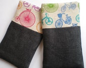 iPHONE 4 pouch with POCKET, Vintage bikes - Blue Green, iphone 5 also available