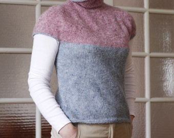 SALE Funnel Neck Top - hand knitted with love.