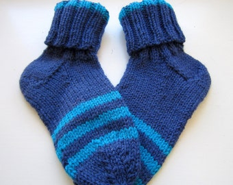 Mum's hand knit warm socks in blue and beautiful