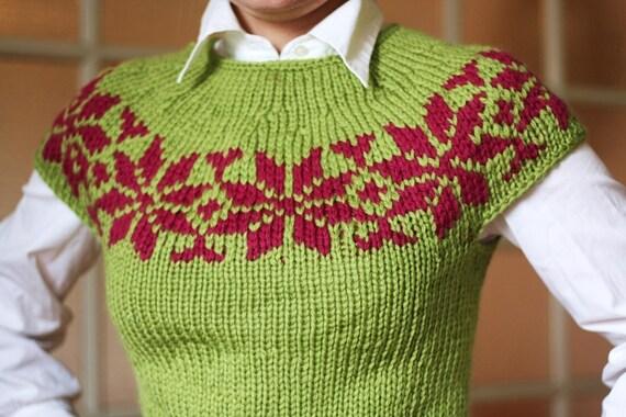 Nordic Rose Top - PDF Knitting Pattern.