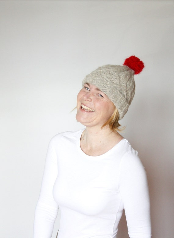 Hand knit cable hat with Rudolph Red Pom Pom