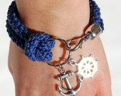 Nautical bracelet, blue crochet, silver rudder and anchor - made to order