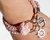 Nautical bracelet, pink crochet, silver rudder and anchor - made to order