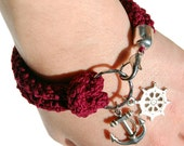 Nautical bracelet, burgundy crochet, silver rudder and anchor - made to order