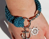 Nautical bracelet, teal crochet, silver rudder and anchor - made to order