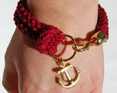 Nautical bracelet, burgundy crochet and gold anchor - made to order