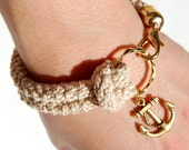 Nautical bracelet, sand crochet and gold anchor - made to order