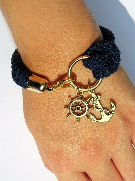 Nautical bracelet, navy blue crochet, rudder and anchor - made to order
