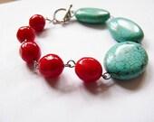 Secret Tango -  handmade turqoise and red bracelet.
