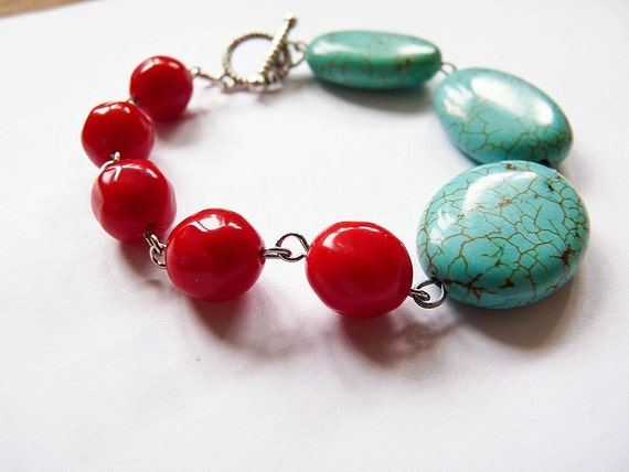 Secret Tango -  handmade turqoise and red bracelet.