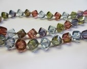 Glass Cube Beads in Earth Tones  Strand
