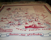 Alaska State Souviner Vintage Tablecloth