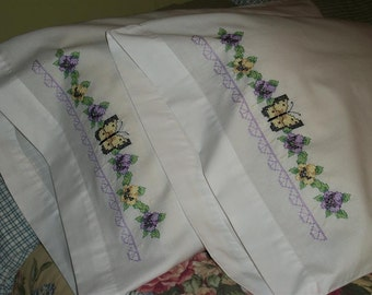 Pansies and Butterfly Pillowcase set