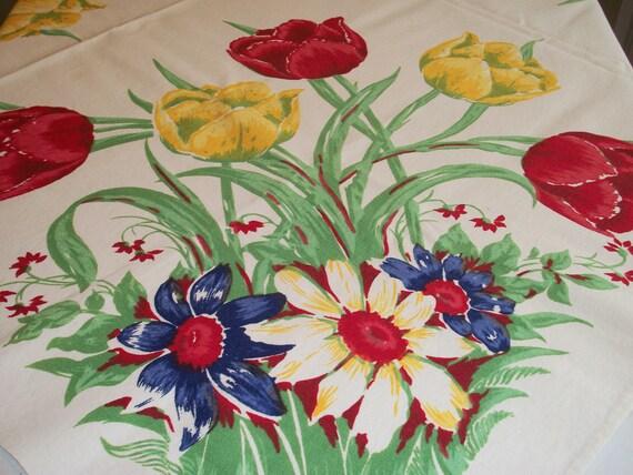 Vintage Spring Tulip Floral Tablecloth