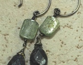 LONG COOL WOMAN-- Green and Blue Kyanite, Oxidized Sterling