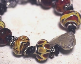 BOYS OF SUMMER-- Heartthrob Red Boro Glass Beads, Leather, Thai Sterling