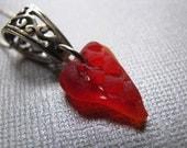 Rare Red Valentine Sea Glass Pendant
