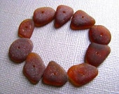 Loose Sea Glass - 10 Bulk Beach Glass - Brown Sea Glass - Drilled Sea Glass - Beach Glass Beads