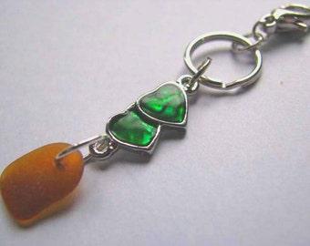 Sea Glass Keychain -  Beach Glass Pendant - Heart Keychain - Sea Glass Gift - Ocean Gift - Keychain with Sea Glass - Unique Sea Glass