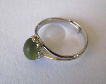 Olive Green - Adjustable Sea Glass Ring - Beach Glass Ring - Sea Glass