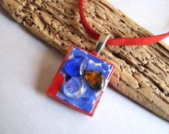 Sea Glass Pendant - Red Scrabble Tile - Beach Glass Pendant - Childs Gift - Sea Glass Gift - Scrabble Pendant Necklace - Ocean Gift
