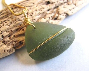 Sea Glass Sailboat - Olive Green - Sea Glass - Sea Glass Pendant - Beach Glass Pendant - Beach Glass Jewelry