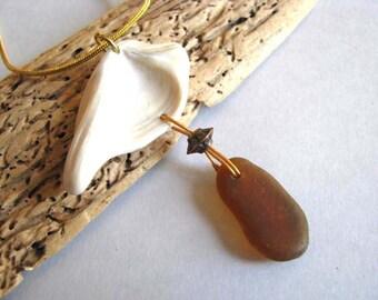 Amber Brown Seaglass - Sea Glass Pendant - Shell Pendant