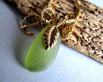 Beach Glass Necklace - Sea Glass Jewelry - Lime Green - Sea Glass - Beach Glass Jewelry