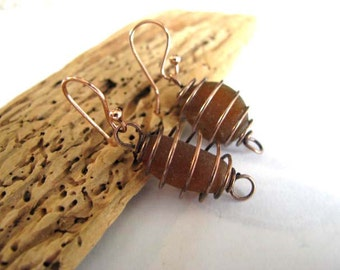Sea Glass Jewelry - Copper Cages - Sea Glass Drop Earrings - Beach Glass - Brown Sea Glass