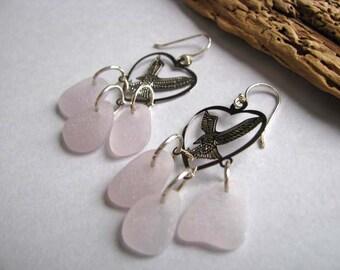 Beach Glass Earrings - Amethyst Sea Glass Earrings - Chandelier Earrings - Eagle Charm