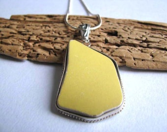 Bezeled Yellow Ceramic - Yellow Ceramic Pendant - Recycled China