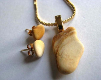Unique Earthenware Jewelry - Sea Glass Jewelry Set - Earthy Jewelry Set - Earth Day