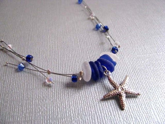 Whimsical Cobalt Blue and White Sea Glass Necklace