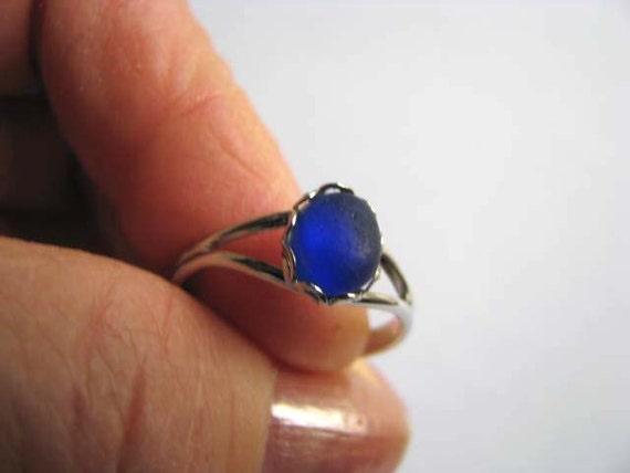 Cobalt Blue Sea Glass - Sea Glass Ring - Beach Glass Ring
