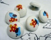 Fabric Covered Button Pushpins - Birdies