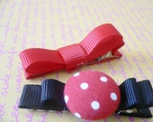 Minnie Mouse Inspired Hair Clippies - Set of 3